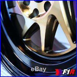 15x8 +25 4x100/114.3 F1R F07 2 STEP BLACK LIP BRONZE BLADE TUNER WHEELS SET OF 4