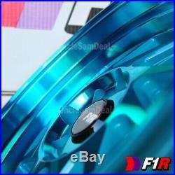 15x8 +25 4x100/114.3 F1R F07 MACHINE TEAL 2 STEP LIP BLADE TUNER WHEELS SET OF 4