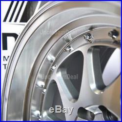 15x8 4x100 4x114.3 +20 MST MT28 SILVER BLADE MACHINE LIP with RIVET WHEEL SET OF 4