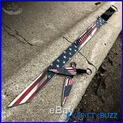 27 AMERICAN FLAG NINJA SWORD Full Tang Machete Blade Katana Throwing Knife Set