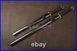 2 Piece set Japanese Swords Straight Blade Carbon Steel Double Edged Brass Tsuka