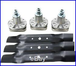 3 Blades 3 Spindles Set 48 Deck John Deere L130 L120 Mowers GY20785 GX20250