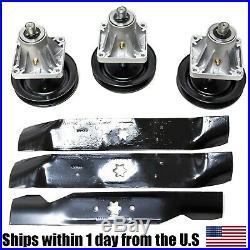 3 Deck Spindle Blade Kit Combo Set Cub Cadet i1046 LT1045 LT1046 Mower 918-0625B