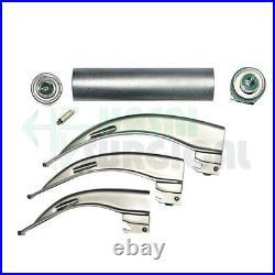 3 Handle Laryngoscope Fiber optic Set of 9 blades Miller and Macintosh