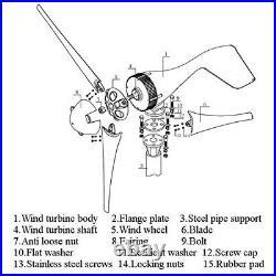 5 Blades 5000W Wind Turbine Generator Set DC 24V W. Power Charge Controller