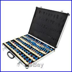 80pc 1/2 Shank Carbide Router Bit Set 2 Blade 3 Blade Woodworking Tool + Case