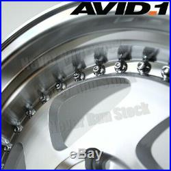 AVID. 1 AV-19 16x8 4x100 +25 MACHINE SILVER LIP 5 SPOKES BLADE TUNER 4 WHEELS SET
