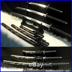 A Set 3 Hand Forged Japanese Samurai Sword Katana Carbon Steel Blade Sharp #1978