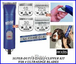 Andis SUPER 2 Speed Clipper SET with 4 Ultraedge Blades PRO DOG CAT HORSE Grooming