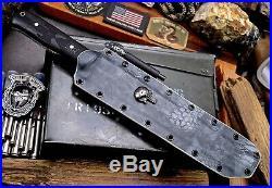 CFK Handmade D2 Custom HONEYCOMB PUNISHER TANTO Blade Knife & Kydex Sheath Set