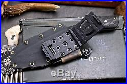 CFK Handmade D2 Tool Steel Custom Bushcraft Hunting Blade Knife Kydex Sheath Set