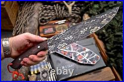 CFK Handmade D2 Tool Steel Custom Large Bushcraft Blade Knife Kydex Sheath Set