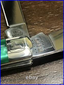 Case John Deere Green Pearl Kirinite Handled Steel Blade Lot of 5 Knife Set New