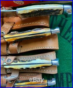 Case XX 1976 Gray Letter 4 Knife Set Stag New In Box Mint Fixed Blades Nice