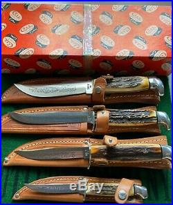 Case xx blue scroll fixed blade 4 knife set 1977 great stag real clean set nib