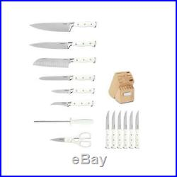 Cuisinart Knife Set White Handle Precision-Tapered Ground Blades Block 15-Piece