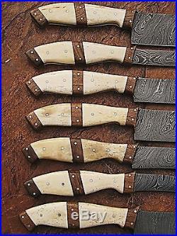 Custom Made Damascus Blade Kitchen/chef Knife 07 Pc's Set