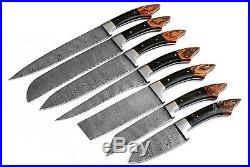 DAMASCUS CHEF/KITCHEN KNIFE CUSTOM MADE BLADE 7 Pcs. Set. EC-1103-H- Br