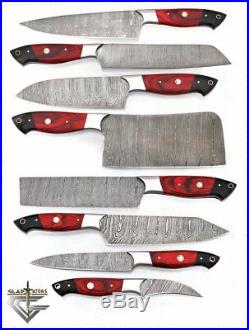 DAMASCUS CHEF/KITCHEN KNIFE CUSTOM MADE BLADE 8 Pcs. Set. EC-1016-RH