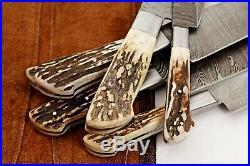 DD/071-Stag CUSTOM HAND MADE DAMASCUS BLADE 6 PCS KITCHEN/CHEF KNIFE SET