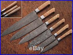 Damascus Blade Kitchen knife 06 oc's set, 1071-CH