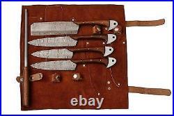 Damascus Steel Custom made Kitchen Knife 5pc Set Razor Sharp Blade PD-1034-5