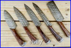 Damascus Steel Engraved Blade Chef Kitchen Knife Set With Wood Handle Aj 1767