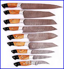 Details about DAMASCUS CHEF/KITCHEN KNIFE CUSTOM MADE BLADE 9 Pcs. Set. MH-10
