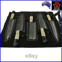 Handmade Kitchen Knife Set Damascus Blade Bone & Buffalo Horn Handle Roll Sheath