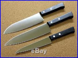 Japanese 3 sets Kitchen Knives Chef's Santoku Utility Serrated blade SEKI JAPAN