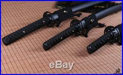 Japanese Black Folded Steel Samurai Sword katana+wakizashi+tanto set sharp blade