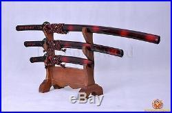 Japanese Samurai Sword Set(katana+wakizashi+tanto) Black&red Folded Sharp Blade