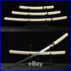 Japanese Shirasaya Sword Set (Katana+Wakizashi+Tanto) Clay Tempered Blade Sharp