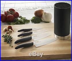 Kyocera 5pc Universal 4 Ceramic White Blade Knife & Black Soft Touch Block Set