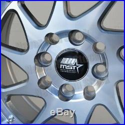 MST MT-28 15x8 4x100/114.3 +20 SILVER BLADE MACHINE LIP W RIVET TUNER WHEELS SET