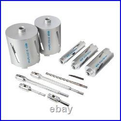 Mexco 11 Piece Dry Diamond Core Drill Bit Set Kit With 115mm Diamond Blade Pack
