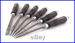 Mortise Chisel Set 4, 5, 6, 8,10, 12 mm Beechwood Handles Steel Blades Tool 6 pc
