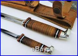 NEW Case XX Twin Finn Fixed Blade Hunter Knife Set With Leather Sheath #00372 USA