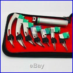 New Set Of 10 Fiber Optic Mac & Miller Laryngoscope Blade+2 Handle Complete Ket