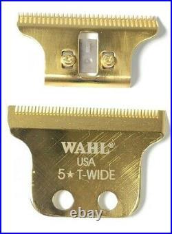 REAL 24K GOLD PLATED Wahl T-Wide Detailer Blade Set #02215