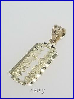 Real 14k Yellow Gold Shaving Razor Blade Pendant Charm + 20 Valentino Chain Set