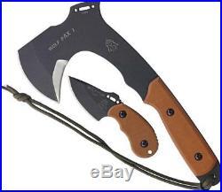 TOPS Set of 2 Fixed Blade Wolf Pax 2 Pup Knife & Ax Tan Handle Combo WPAX02