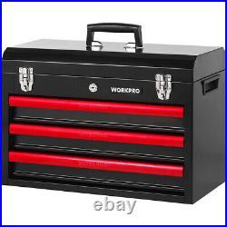 WORKPRO 408 Piece Mechanics Tool Set with 3-Drawer Heavy Duty Metal Case Box USA